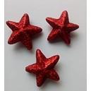 lot de 12 étoiles rouges pailletées en polystyrène 4.5cm