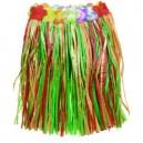 Jupe Hawaïenne en raphia naturel 45cm multicolore